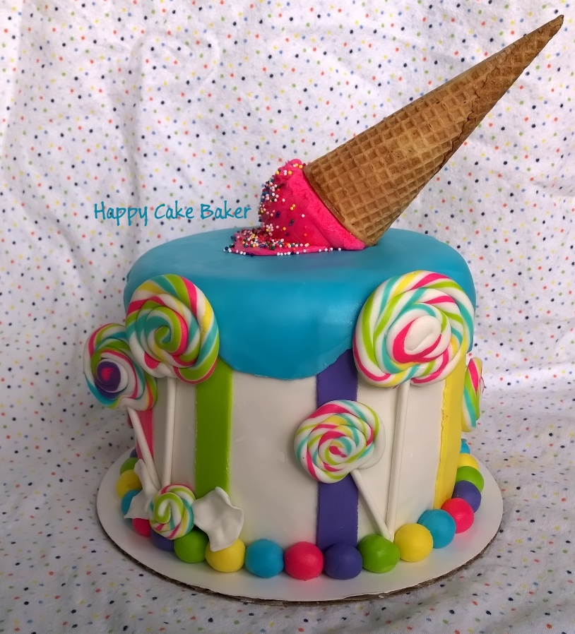 Candy Party Theme Happy Cake Baker