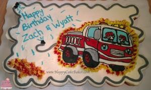 Fire truck cupcake cake