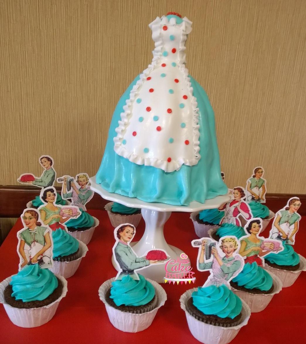 Vintage Bridal Shower Happy Cake Baker