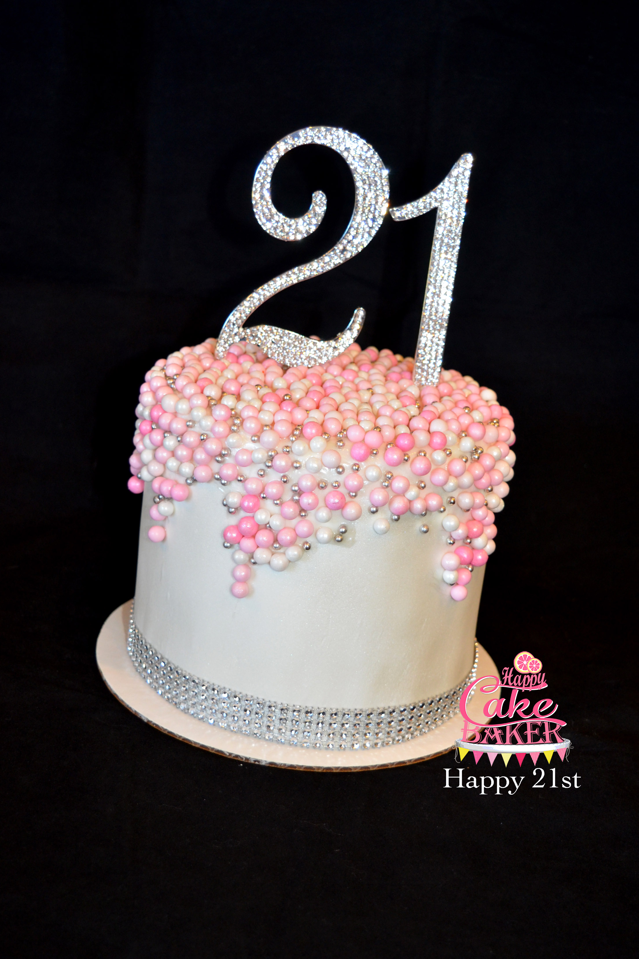 Happy Birthday  Glitz Cake Topper