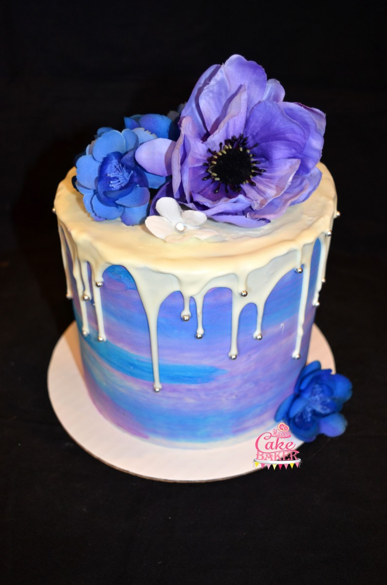 Purple Amp Blue Drip Cake Happy Cake Baker
