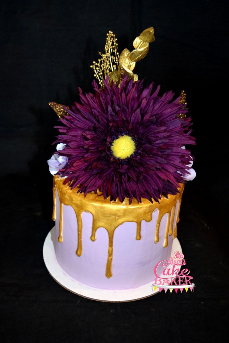 Gold Drip Happy Cake Baker